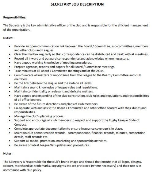 secretary job description template