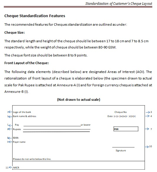 standardization of customers cheque layout template