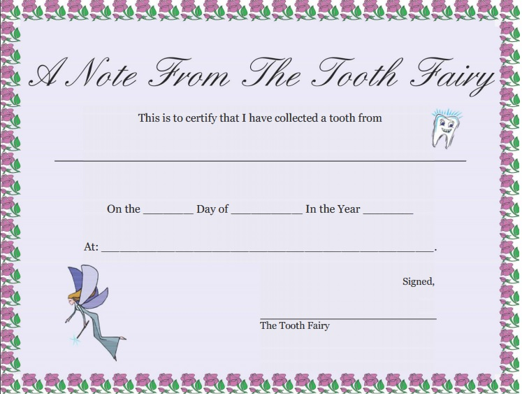 a note from the tooth fairy certificate