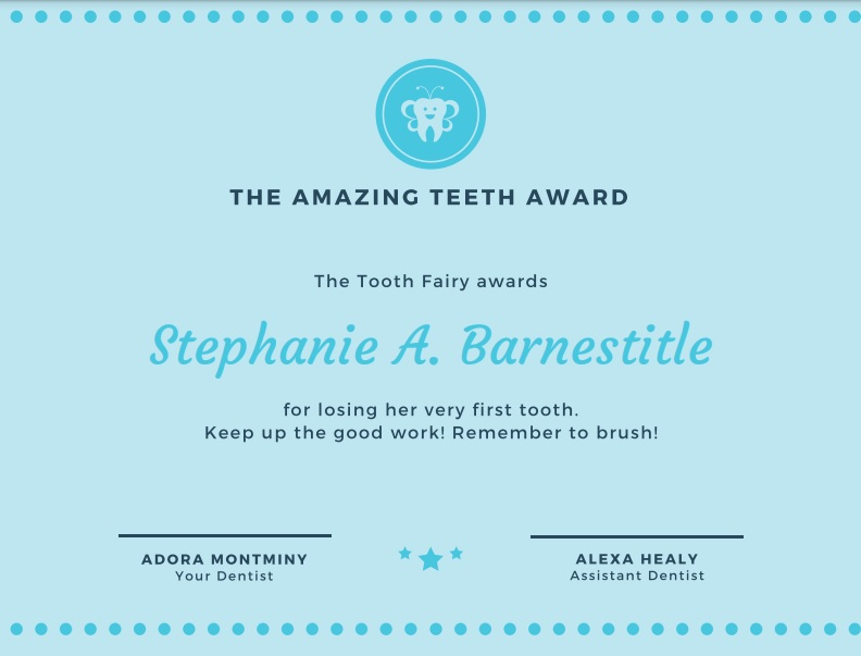blue tooth fairy certificate