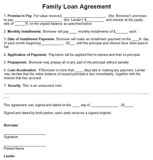 family loan agreement template