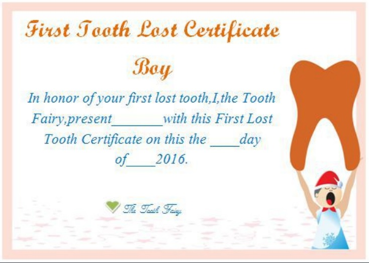 first tooth lost certificate boy