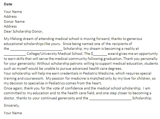 graduate scholarship thank you letter