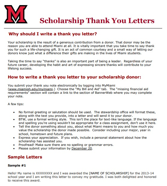 high school scholarship thank you letter template PDF