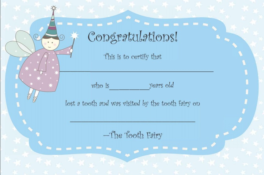 lost tooth certificate printable