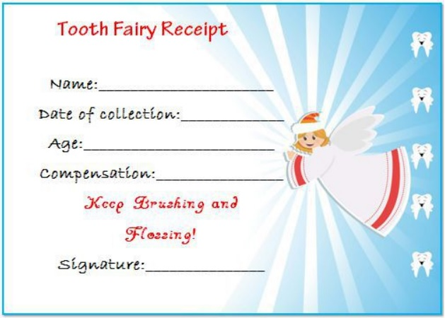 tooth fairy receipt certificate