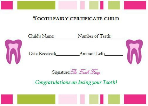 tooth fairy receipt child