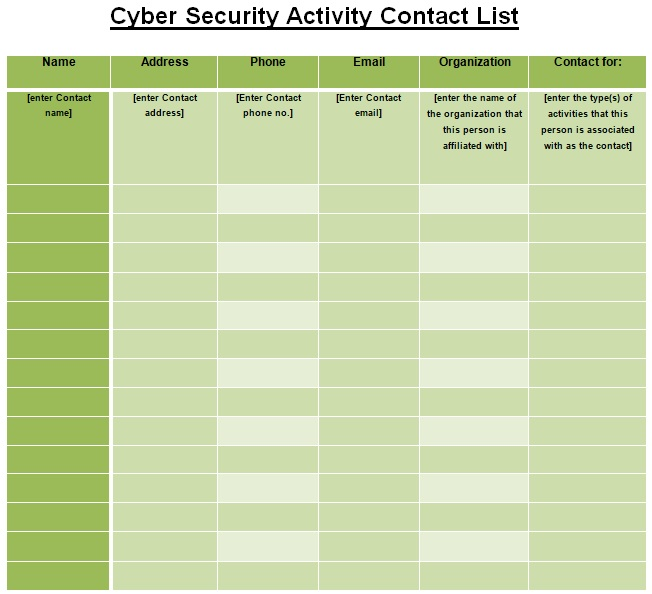 cyber security activity contact list template