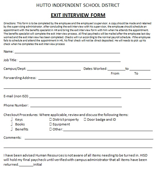 exit interview form for hutto independent school district