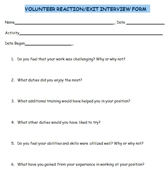 exit interview form for volunteer