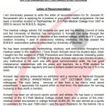 Free Medical School Recommendation Letter Template