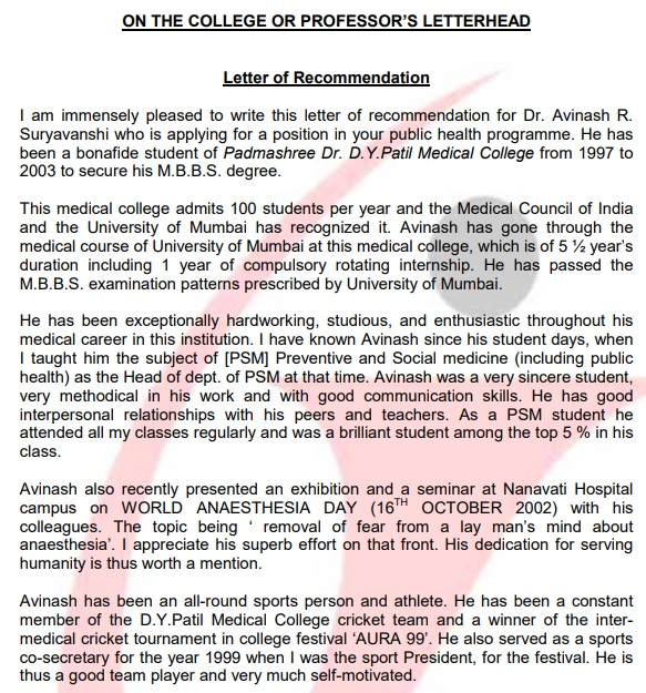 medical school recommendation letter from doctor