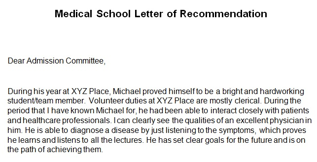 medical school recommendation letter template