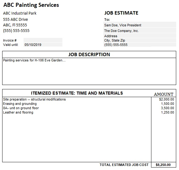 100% Free Painting Estimate Template (Word, Excel, PDF ...