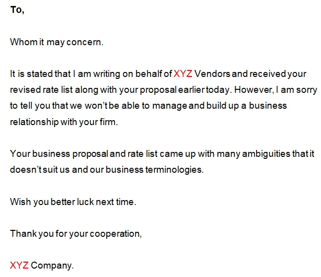 rejection letter to vendor proposal