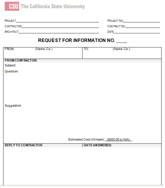 request for information form template word