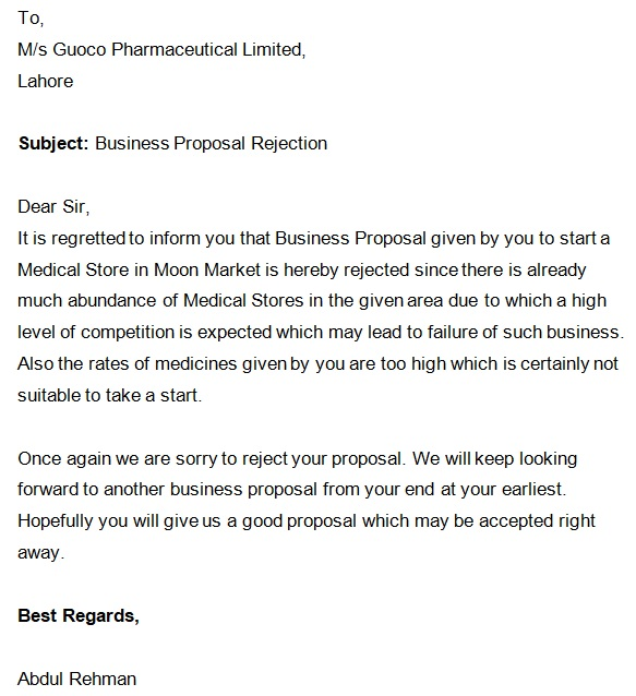 sample email decline a business proposal