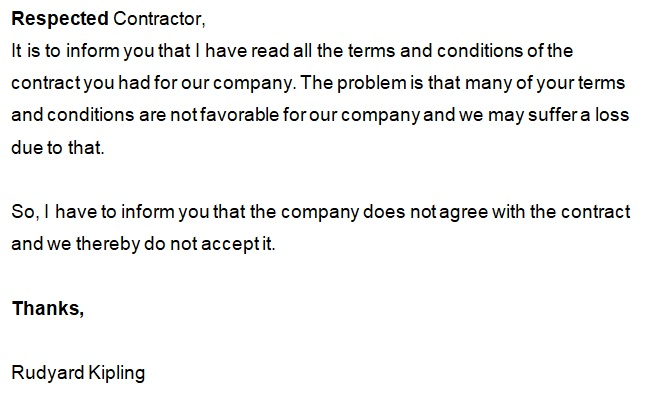 sample letter of rejection of business proposal