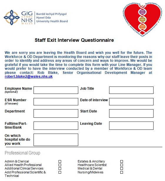 staff exit interview questionnaire