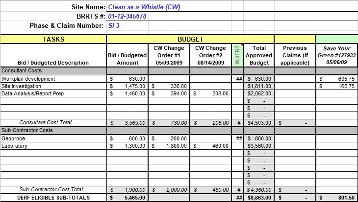 cost tracking order template