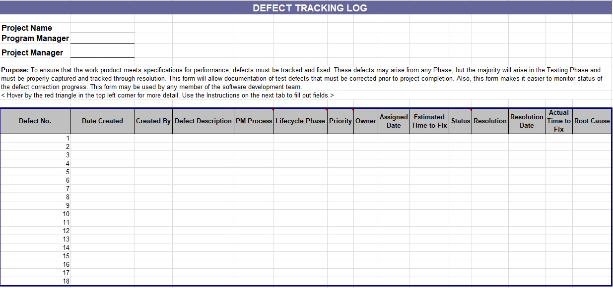 defect tracking log spreadsheet