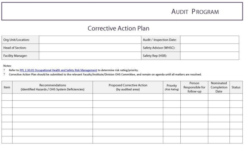 employee audit corrective action plan template