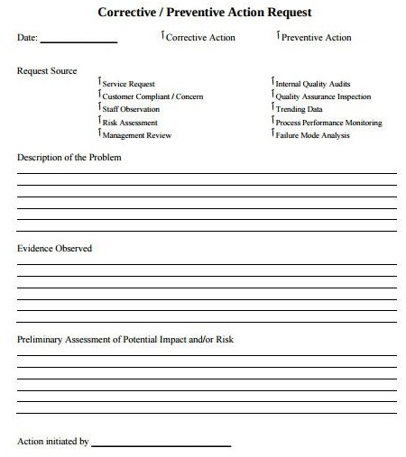 employee corrective preventive action request template