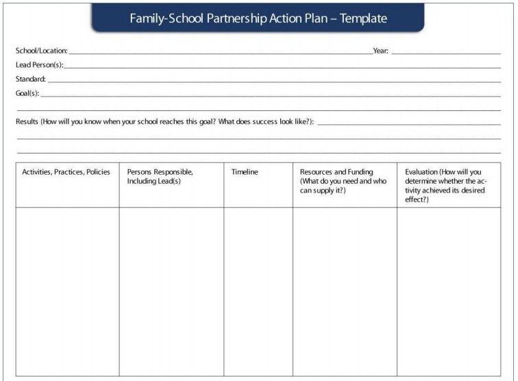 family school action plan template