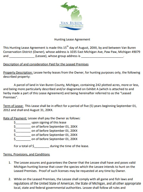 van buren hunting lease agreement template