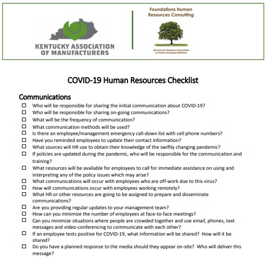 COVID-19 human resources checklist template