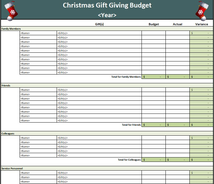 Christmas gift giving budget template