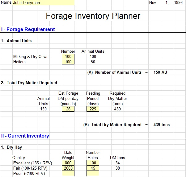 dairy forage inventory control template