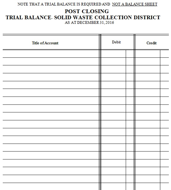 post closing trial balance template