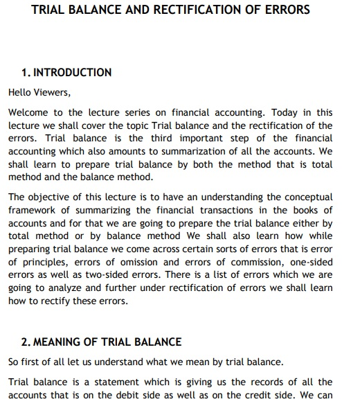posting for preparing trial balance template