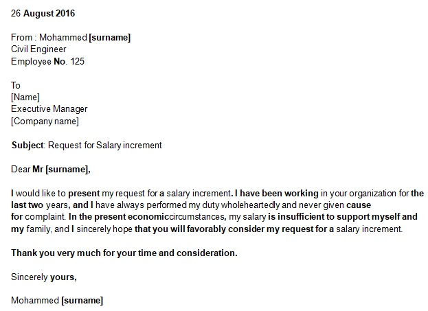 request letter for salary increment template