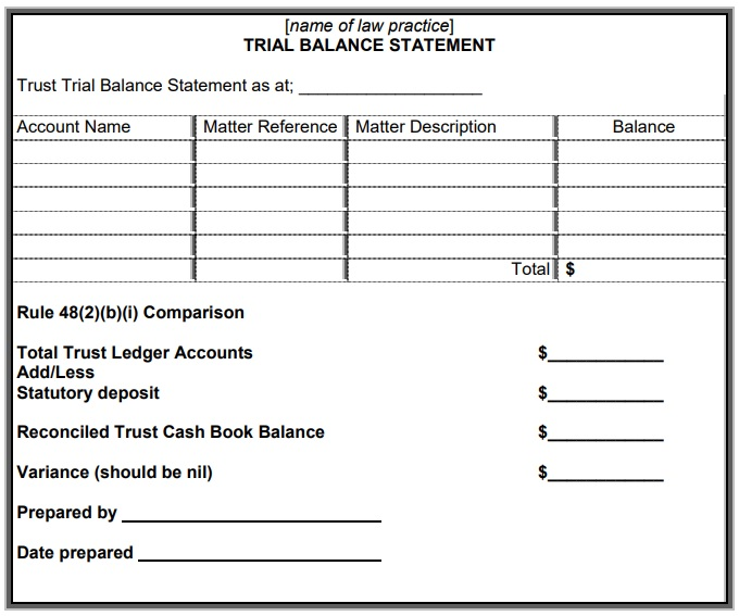 trust trial balance statement template