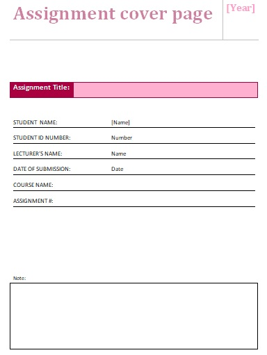 Blank Assignment Cover Page Sheet