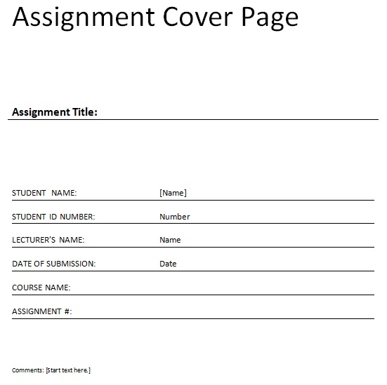 Editable Assignment cover page