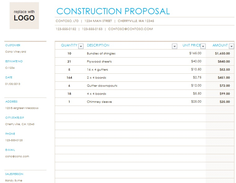 construction proposal template excel