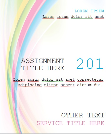 student assignment cover page template