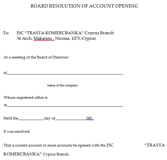 board resolution for account opening sample