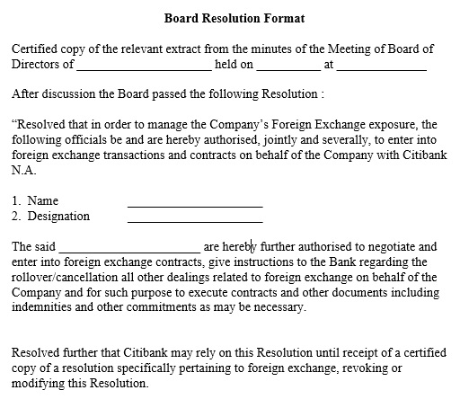 board resolution template word