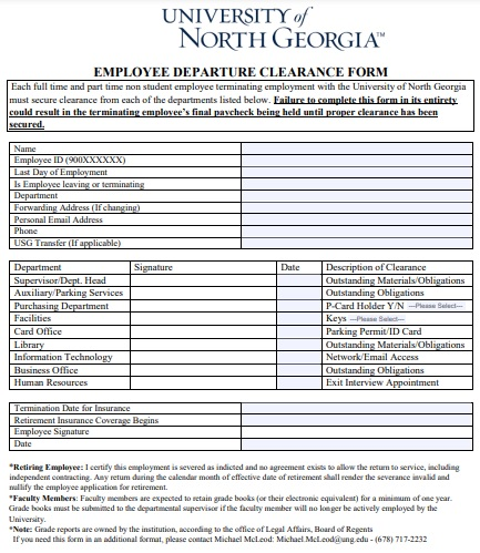 employee departure clearance form