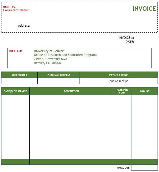 free consulting invoice template for word