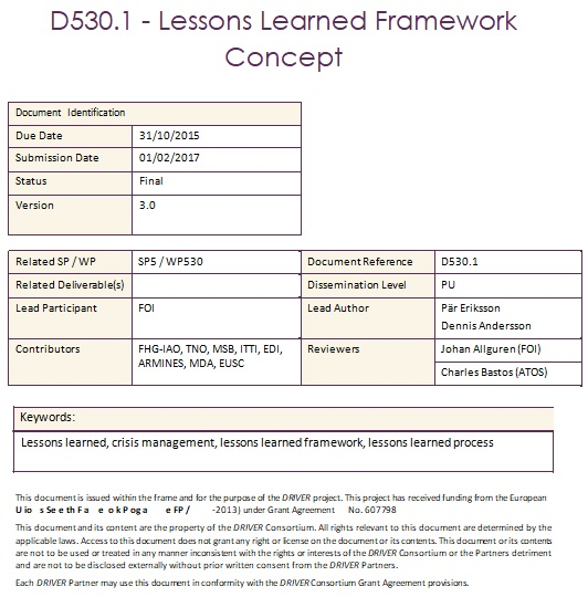lessons learned framework concept template