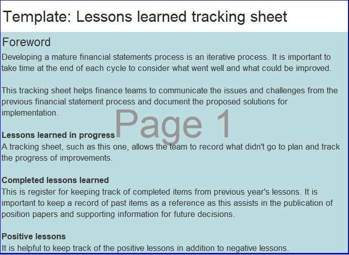 lessons learned tracking sheet