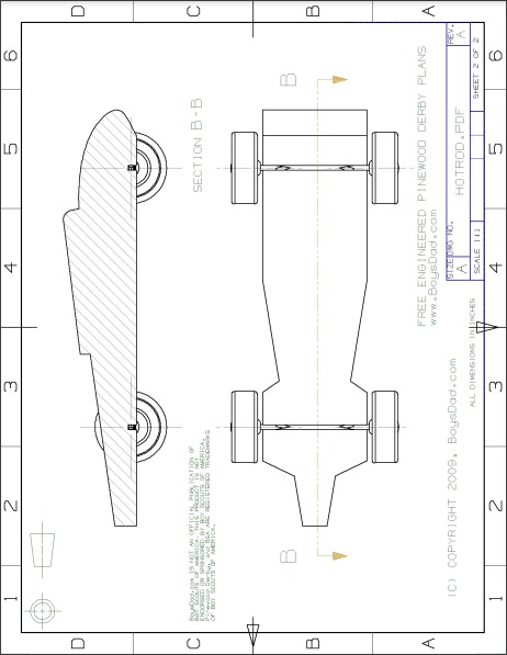 pinewood derby speed hot rod template