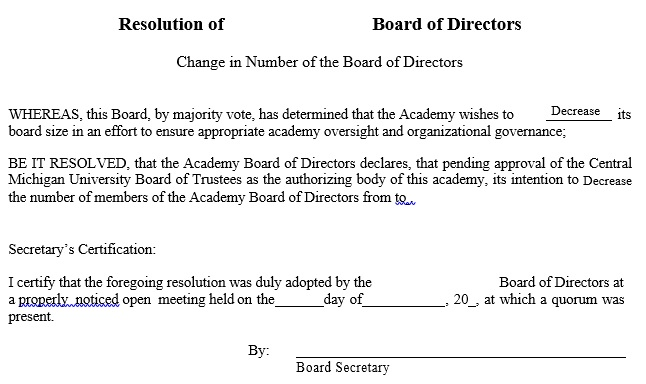 resolution of board of directors form