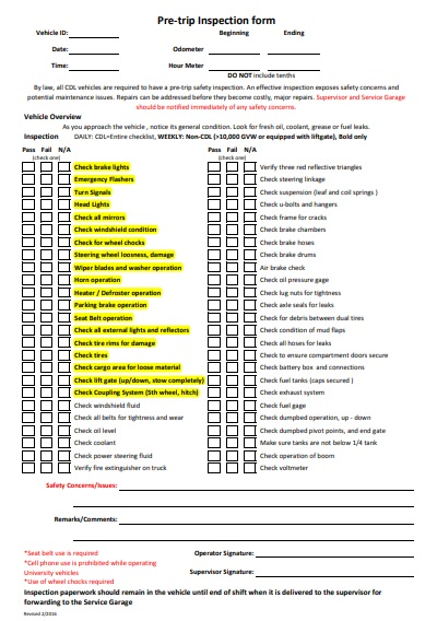vehicle Pre-Trip inspection form