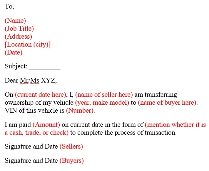 authorization letter to transfer ownership of a vehicle